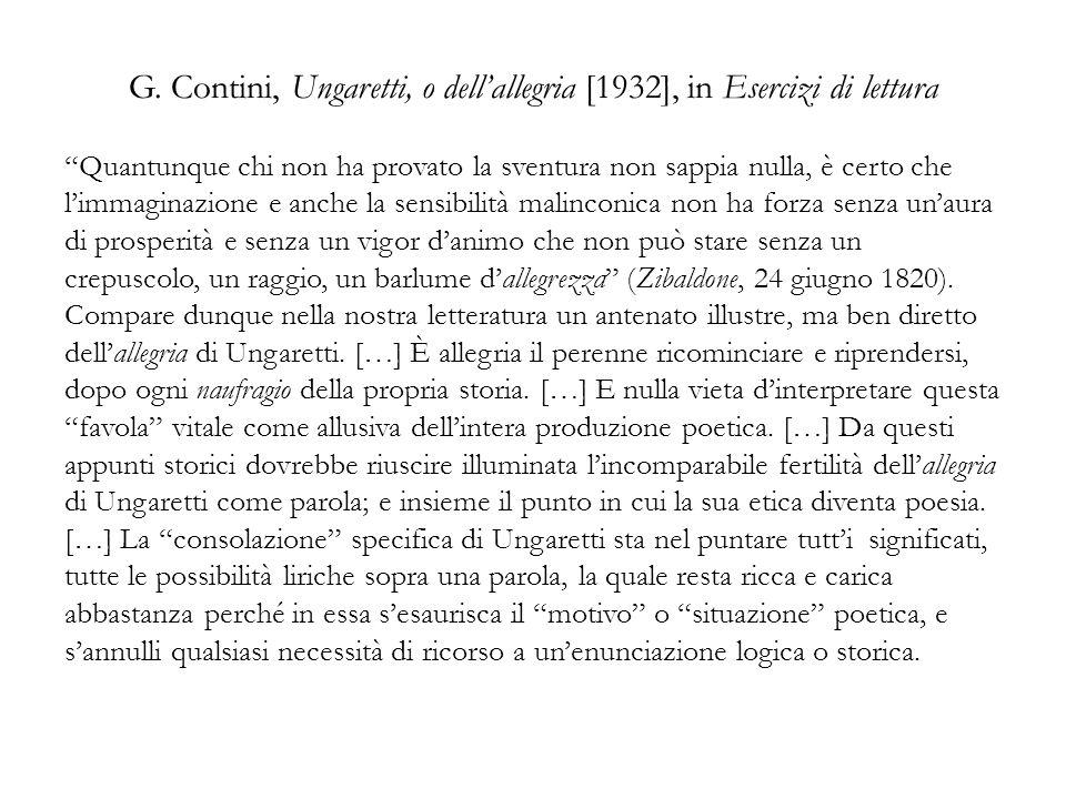 G. Contini, Ungaretti, o dell'allegria [1932], in Esercizi di lettura